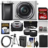 Sony Alpha A6300 4K Wi-Fi Digital Camera & 16-50mm Lens (Silver) 64GB Card + Case + Battery & Charger + Tripod + 3 Filters + Kit
