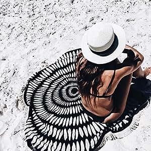 """59"""" Tassel Blanket Hippie Round Beach Towel Black And White"""