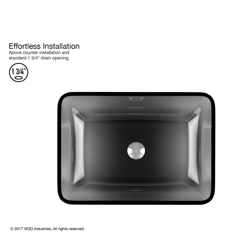 VIGO VG07082 Rectangular Sheer Black Glass Vessel Bathroom Sink