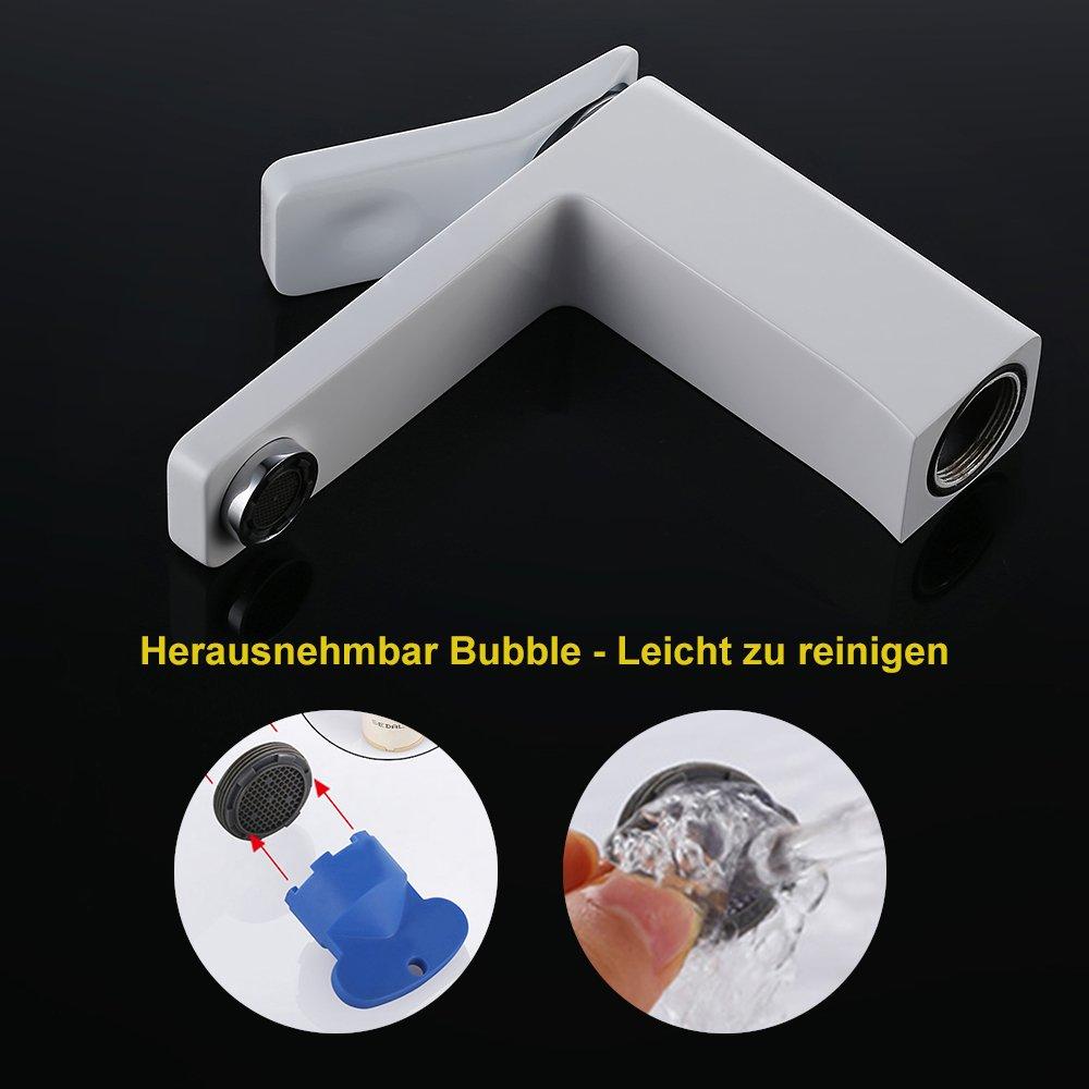 Homelody Weiss Lack Einhebelmischer Wasserhahn bad Armaturen ...