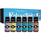 Relaxation Gift Set of 6 Premium Grade Fragrance Oils - Lavender Chamomile, Ylang Ylang, Mountain Rain, Ocean Breeze, Eucalyptus, Sandalwood - 10Ml - Scented Oils