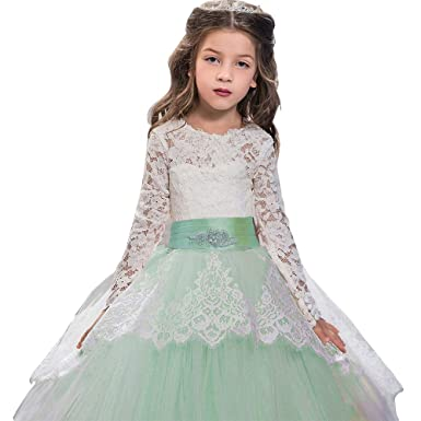 8fbdb6a4cb Pageant Flower Girls Dress Lace Long Sleeves Princess Tulle Ball Gown Aqua  US 2