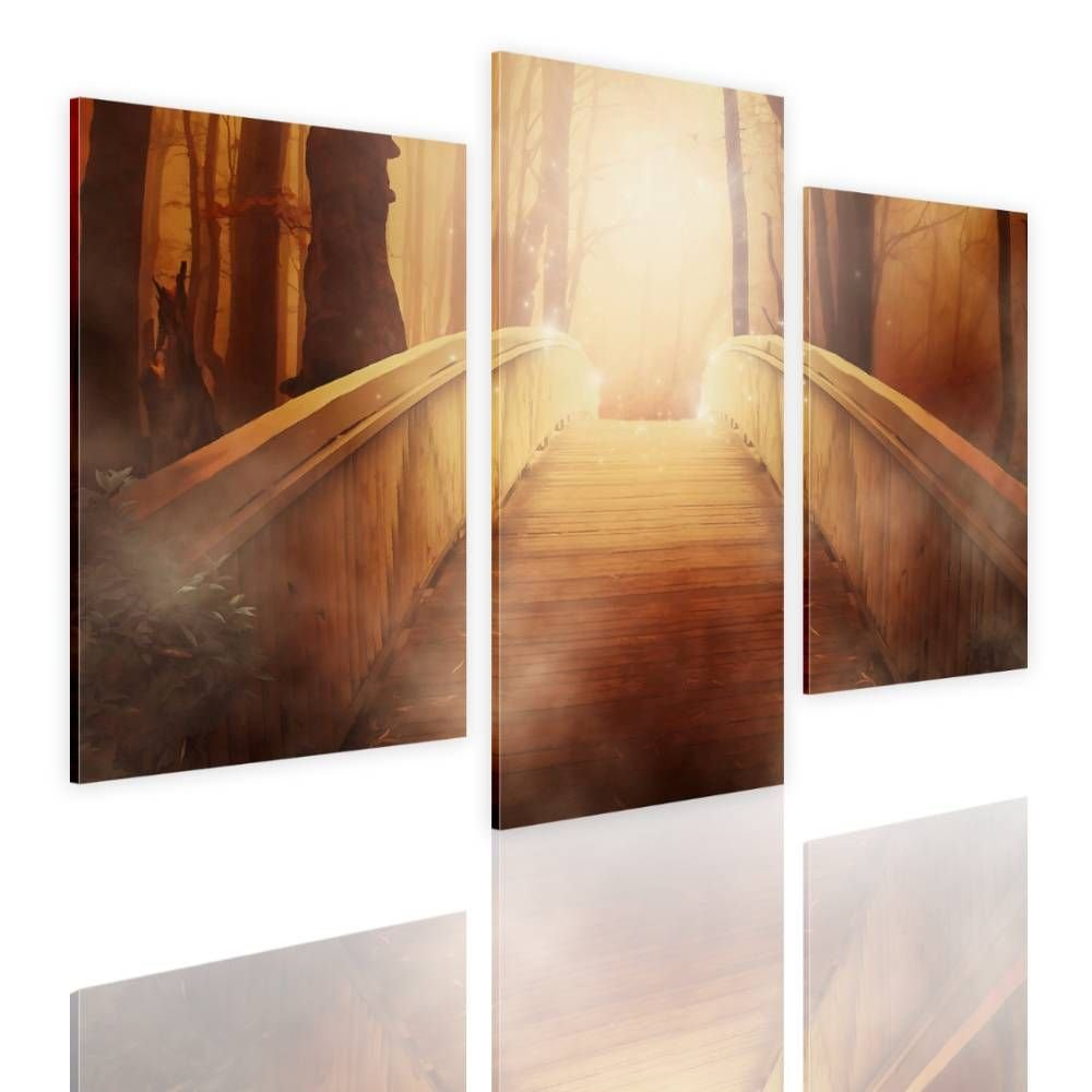 Alonline Art - The Bridge to Heaven Split 3 Panels Framed Stretched Canvas (100% Cotton) Gallery Wrapped - Ready to Hang | 39''x26'' - 99x66cm | 3 Panels Combination Framed Paints for Home Decor