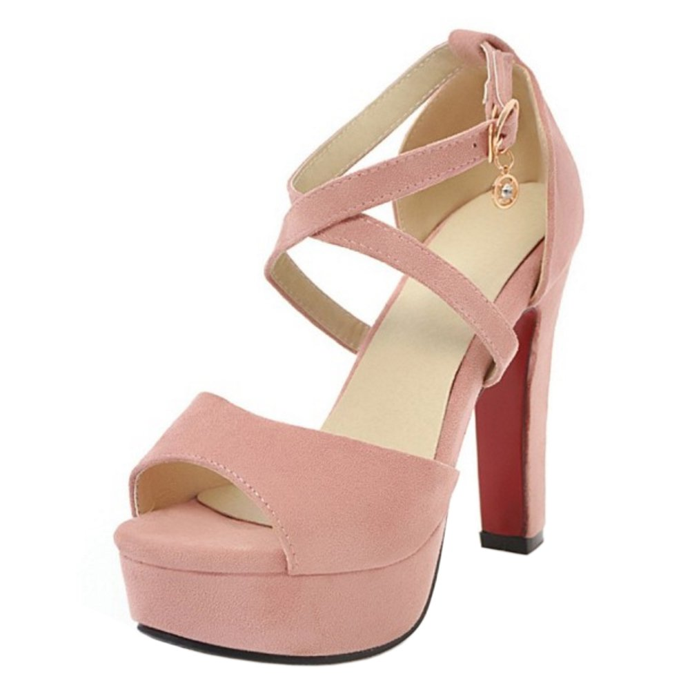 TAOFFEN TAOFFEN Femmes Pink Ete Ete Sangle Croisee Sandales Talons Pink c1a9e22 - piero.space