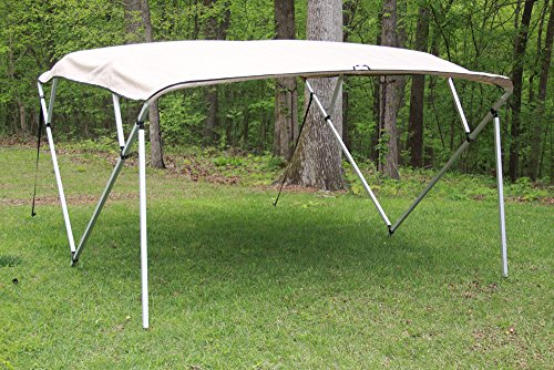 AN/Beige Square Tube Frame 4 Bow Pontoon/Deck Boat Bimini TOP 8' Long, 91-96