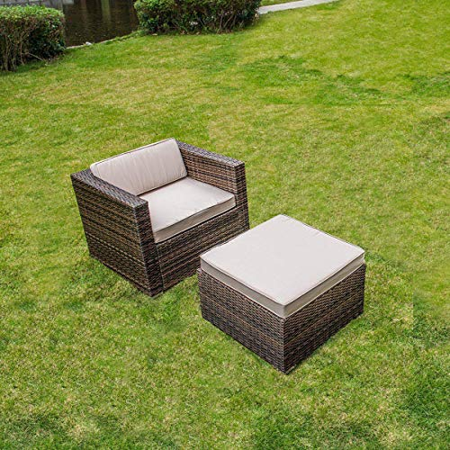 MAGIC UNION Rattan Wicker Outdoor Furniture Set Patio Cushioned Single Sofa with Ottman