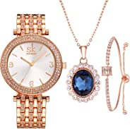 SK SHENGKE 3pcs Watches Set Necklace Bracelet Jewelry Sets Exquisite Gifts for Women