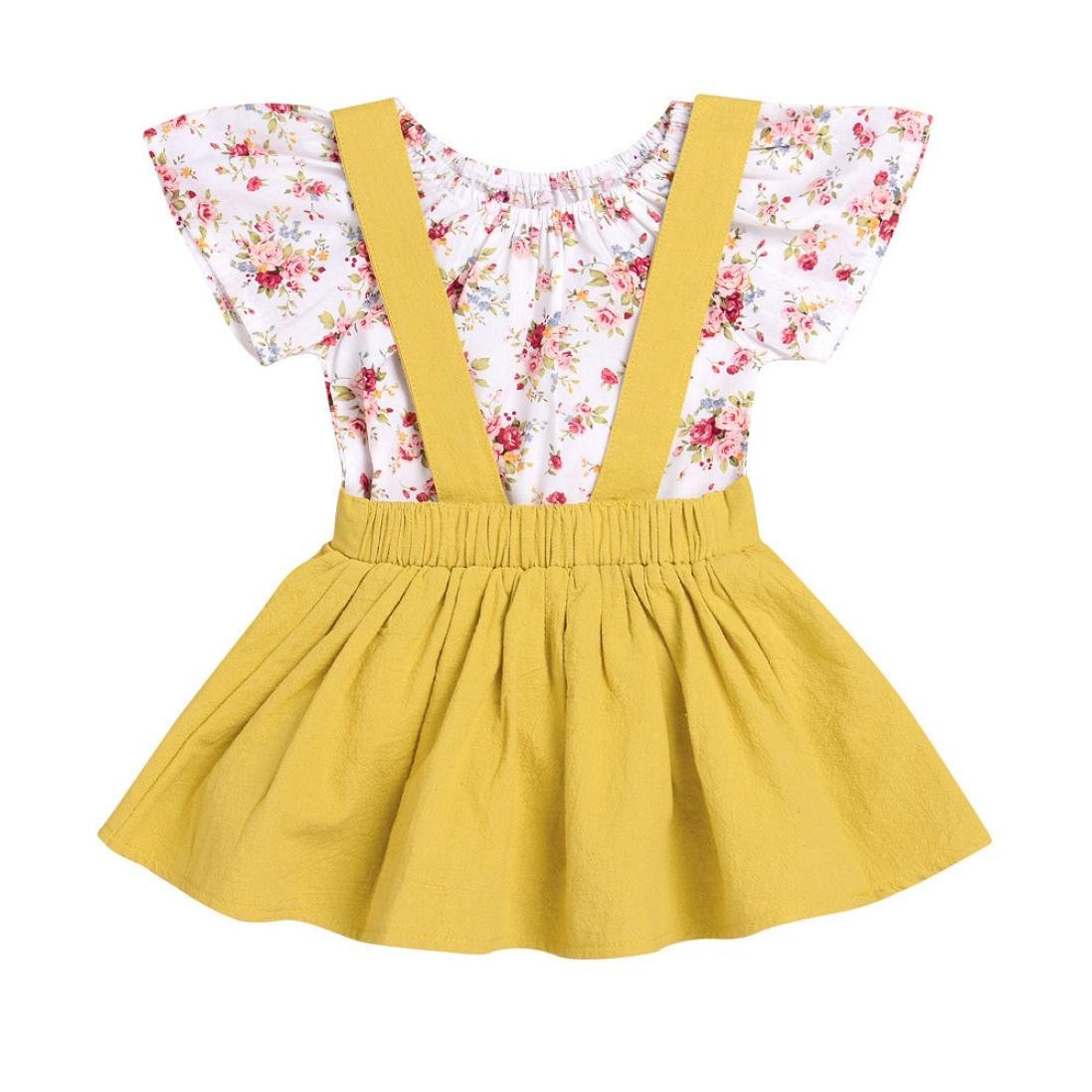 Tenworld 2Pcs Baby Girls Outfits Floral Print Rompers Jumpsuit + Suspender Skirt Set