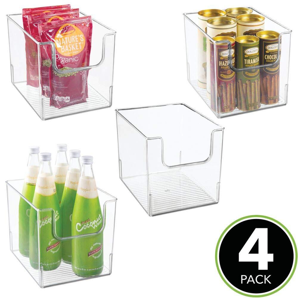 mDesign Caja de almacenamiento de alimentos transparente armario o arc/ón congelador con frontal abierto Caja de pl/ástico para frigor/ífico sin BPA Organizador de frigor/ífico
