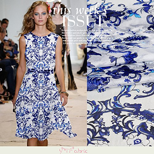 Printed 100% Pure Silk Chiffon Fabric with Blue and White Porcelain Pattern, Fashion Floral Silk Fabric By the Yard