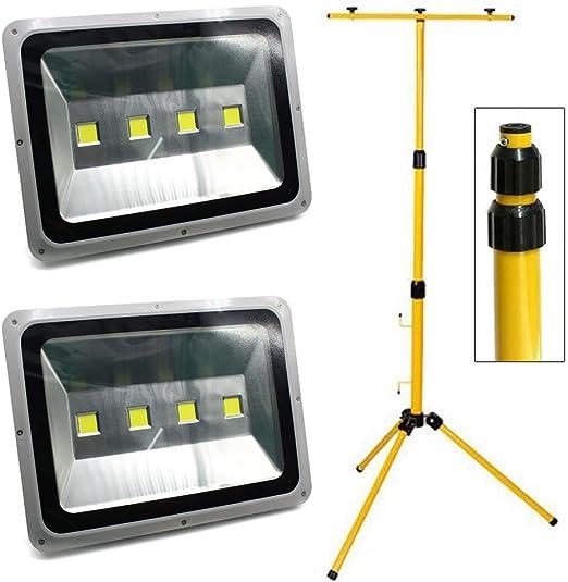 2 PCS 200W LED Foco Proyector de exterior con tripode, Blanco Frio ...