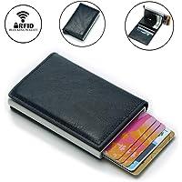 Tarjetero de tarjeta de crédito, Protector Cartera de tarjeta RFID de Cuero PU y Alumnio, Billetera Delgada con Bloqueo RFID Mutifuncional, Regalo Perfecto para mujeres y hombres