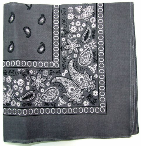 Kaiser Novelty Bandanas Paisley Cotton Bandanas (Dark Grey  22 X 22 in) -