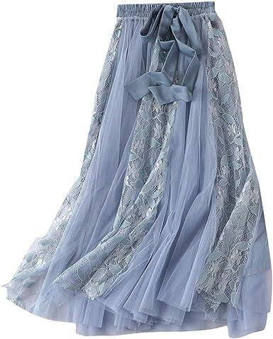 Sulifor Falda Elegante de Verano, Falda de elástico Cintura Alta ...