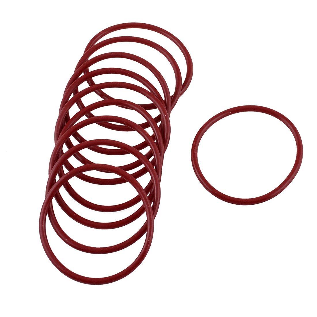 44 x 39 mm x 2,5 mm, colore: rosso in gomma a forma di olio O Rings-Guarnizione da 10 pezzi Sourcingmap a13030700ux0515