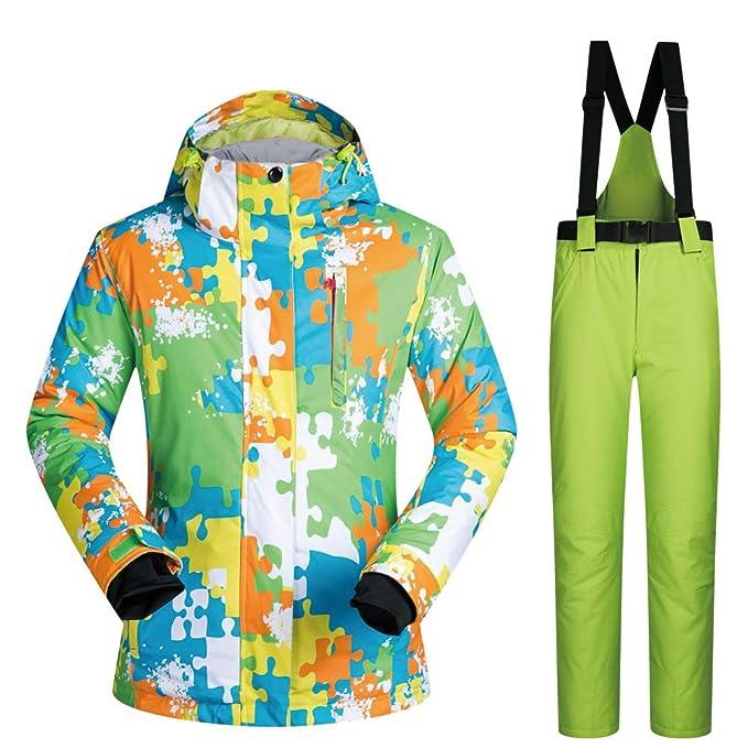a0ff131110e Hombres Mujeres Chaqueta de esquí Pantalones Impermeable Caliente Espesado   Amazon.es  Ropa y accesorios