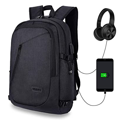 028b8789ad WAWJ Anti-Theft Business Laptop Backpack with USB Charging Port & Headphone  Jack Rucksack Waterproof Travel School Bag (Black): Amazon.co.uk: Luggage