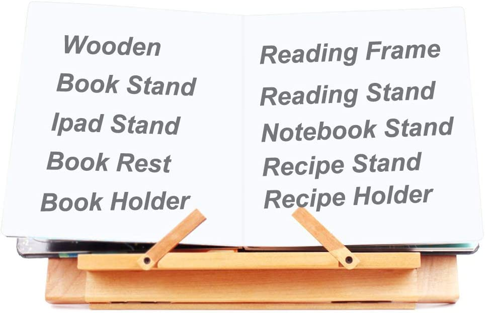 Wooden Book Holder for Reading Bestmemories Wooden Table Easel Book// Ipad// Notebook Stand Recipe Holder Reading Frame for Kids Adults