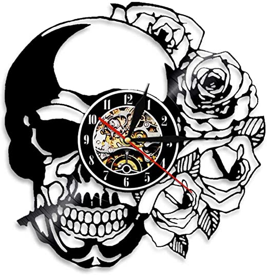 ttymei Tatuaje de Calavera con Rosa Arte de Pared Reloj de Pared ...