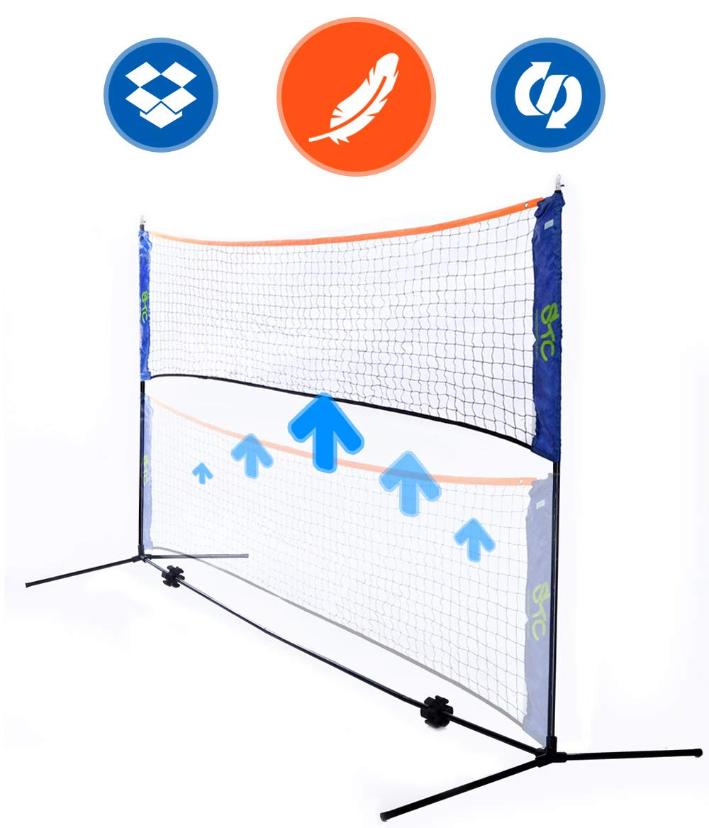Street Tennis Club Portable Badminton Net Stand Light and Fast Set Up Perfect for Kids Volleyball Tennis Pickleball Soccer Tennis for Indoor or Outdoor Court Beach Driveway