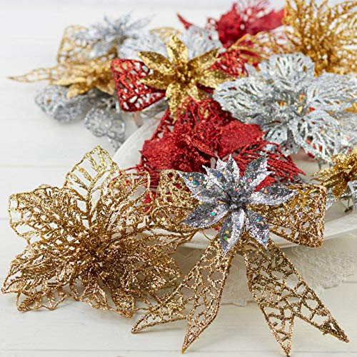 Factory Direct Craft Box of Glittered Bows and Poinsettias with Clips