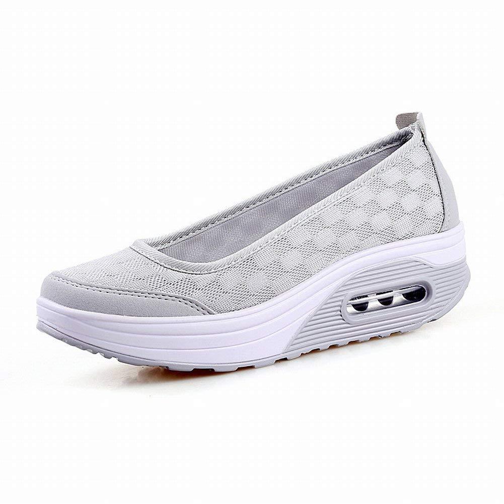 Oudan Atmungsaktives Maschenwachstum Schütteln Sie Schuhe Alle Match-Sätze Fuß All-Mode-Extra-Große Frauenschuhe (Farbe   Hellgrau Größe   41)