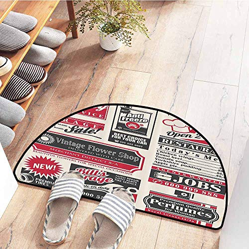 SEMZUXCVO Interior Door mat 1950S Decor Retro Newspaper Magazine Design On Outdated Layout Different Topics Title Artwork Anti-Fading W24 x L16 Beige Pink