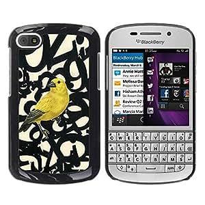 Paccase / SLIM PC / Aliminium Casa Carcasa Funda Case Cover para - Bird Letters Numbers Text Beige - BlackBerry Q10
