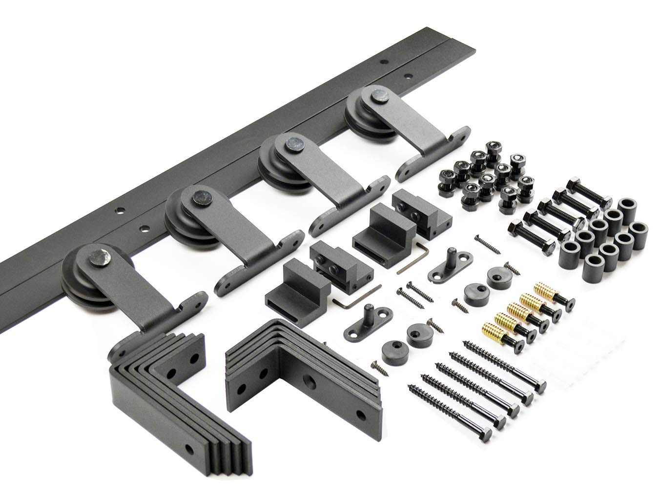 DIYHD 5ft Top Mount Bypass Double Sliding Wood Door Track Hardware Kit for Low Ceiling by DIYHD (Image #3)