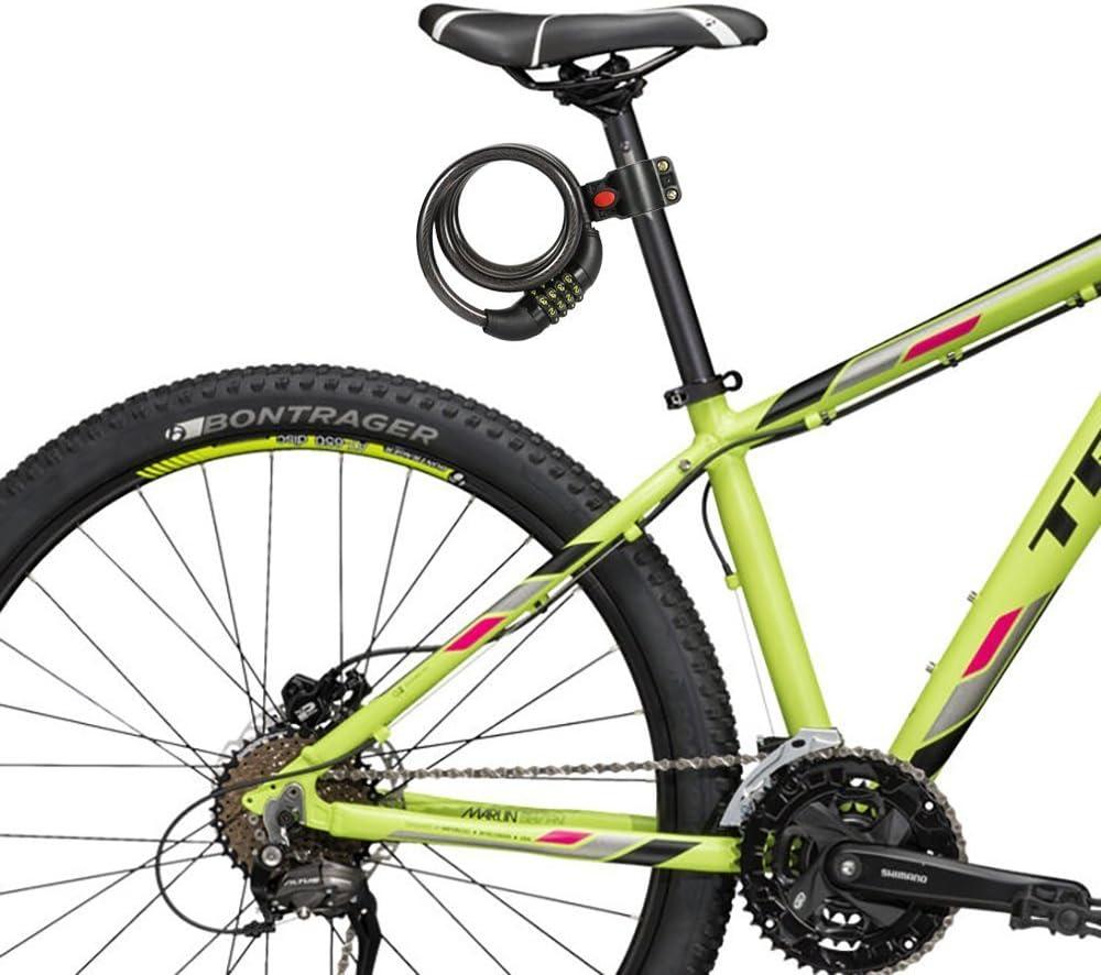 Candado de Bicicleta, Rixow Candado de Combinación de Bicicleta, Bloqueo Reajustable Flexible de Cable, Negro.: Amazon.es: Deportes y aire libre