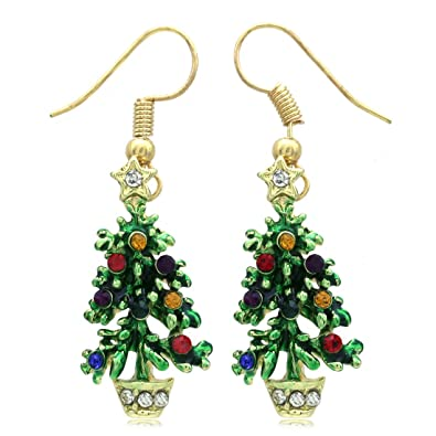 tree beaded earrings christmas