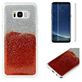 For Samsung Galaxy S8 Plus Glitter Case with Screen Protector,OYIME Luxury Shiny Design Ultra Thin Slim Fit Soft Silicone Rubber Bumper Scratch Resistant Protective Back Cover - Red