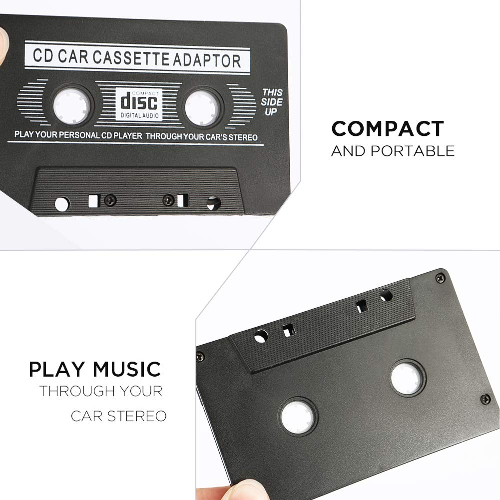 Merssyria Universal Car Audio Travel Cassette Adapter for Smartphones MP3 Players Audio Cassette Adapter Black 2PCS