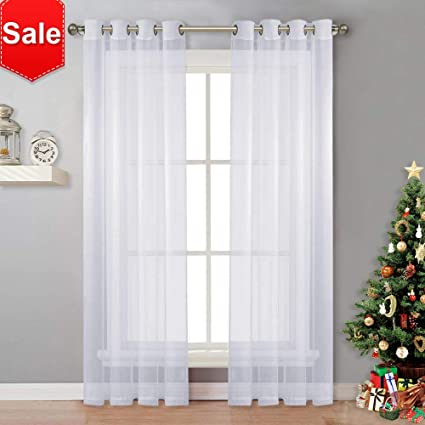 NICETOWN Sheer Curtain Panels Bedroom   Home Decoration Solid Voile Panels  With Ring Top (2