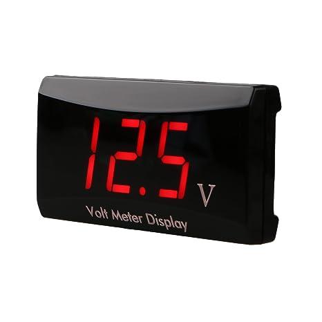 AIMILAR DC medidor de 12 voltios volt/ímetro digital de 12 V para coche y motocicleta rojo