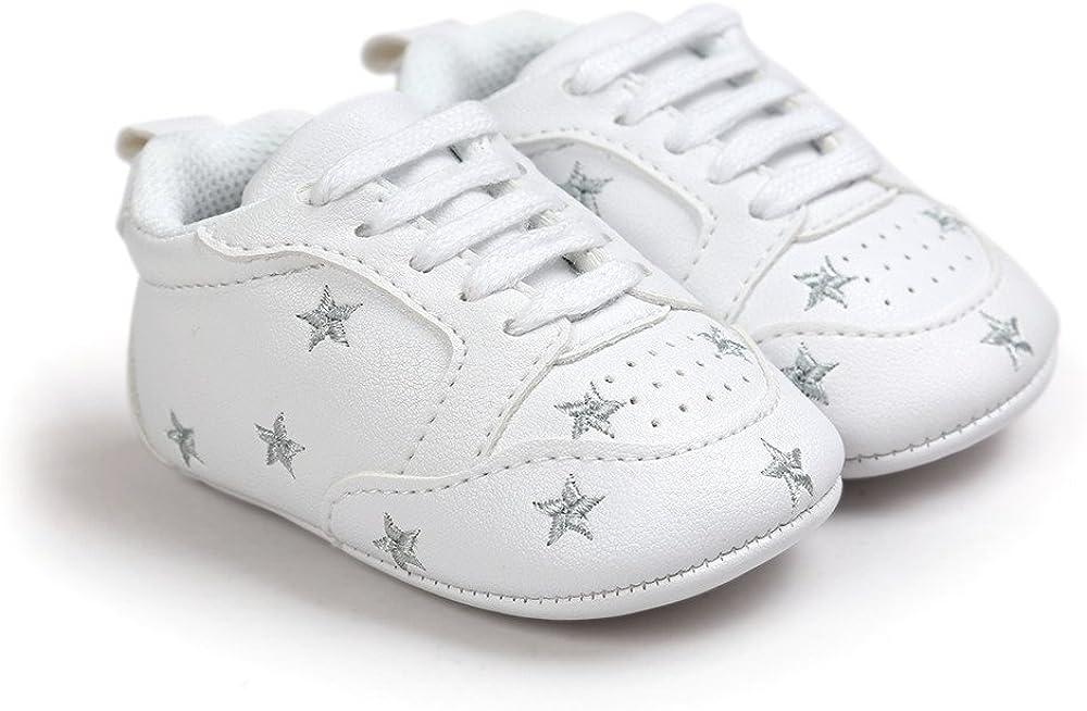 ESTAMICO,Chaussures b/éb/é gar/çon Premier Pas,Baskets Blanches /à Lacets Unisex b/éb/é