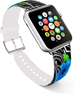 Ecute Compatible with Apple Watch Band 38mm 40mm, Soft Leather Band Strap Compatible with iWatch Series 6/5/4/3/2/1 - Leopard with Blue Flowers