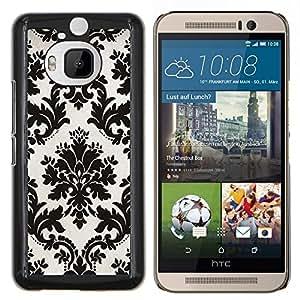 Stuss Case / Funda Carcasa protectora - Blanco negro con clase del papel pintado floral del vintage - HTC One M9+ M9 Plus