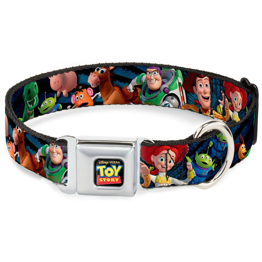 Buckle Down Seatbelt Buckle Dog Collar - Toy Story Characters Running Denim Rays - 1'' Wide - Fits 11-17'' Neck - Medium