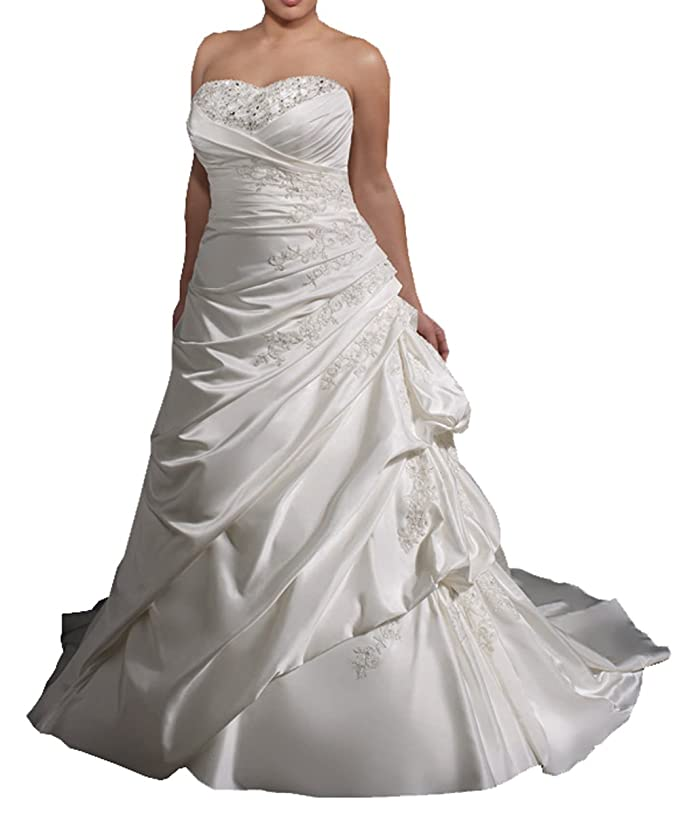 Harshori Womens Plue Size Sweetheart Plue Size Wedding Dress at ...