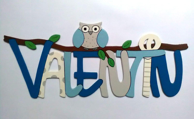 Namensschild Türschild Schriftzug Buchstaben aus HolzEule fürs Kinderzimmer