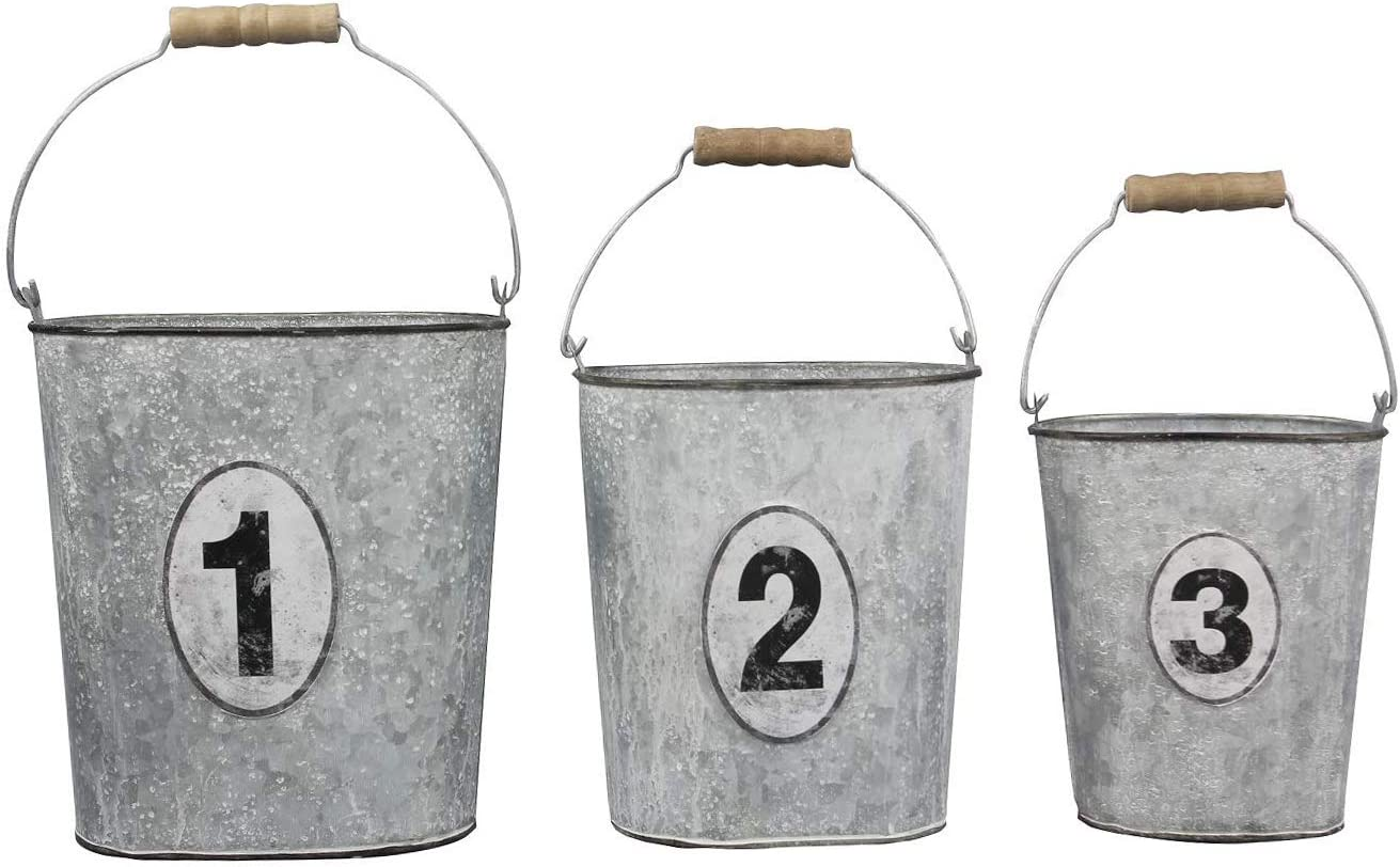 The Bridge Collection '1, 2, and 3' Rustic Galvanized Metal Bucket Planters, Set of 3 Assorted