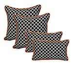 Set of 4 - Indoor / Outdoor 20'' Square & Rectangle / Lumbar Decorative Throw / Toss Pillows - Black and White Geometric Hockley w/ Orange Piping / Cording - Zipper Cover & Insert