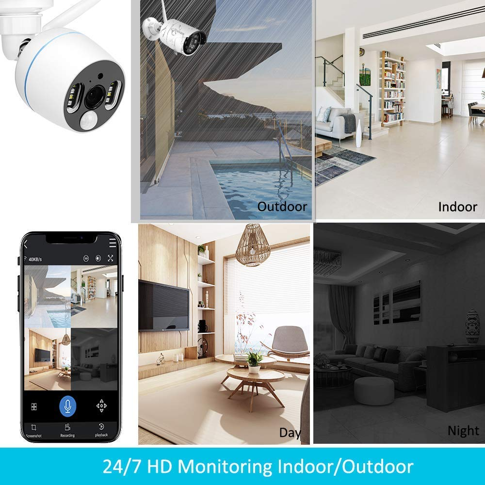 YESKAMO Wireless Security Camera System Outdoor 1080p [Floodlight & Audio] 2 x Floodlight Home Cameras 2 x Standard IP Camera 8 Channel NVR Support Two Way Talk,Color Night Vision,PIR Motion Detection by YESKAMO (Image #9)