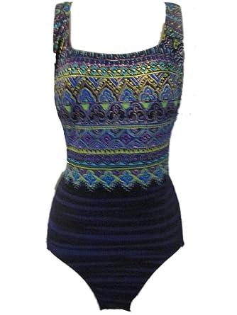 8f3643210c Longitude Robby Len Women's Taj Mahal One Piece Suit Swimsuit Blue ...
