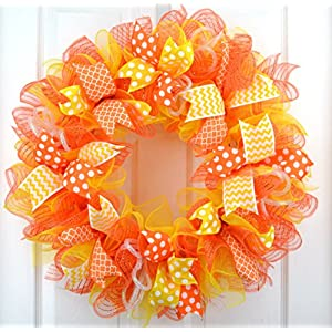 Bright Summer Wreath | Orange Spring Wreath | Yellow Outdoor Mesh Wreath 72