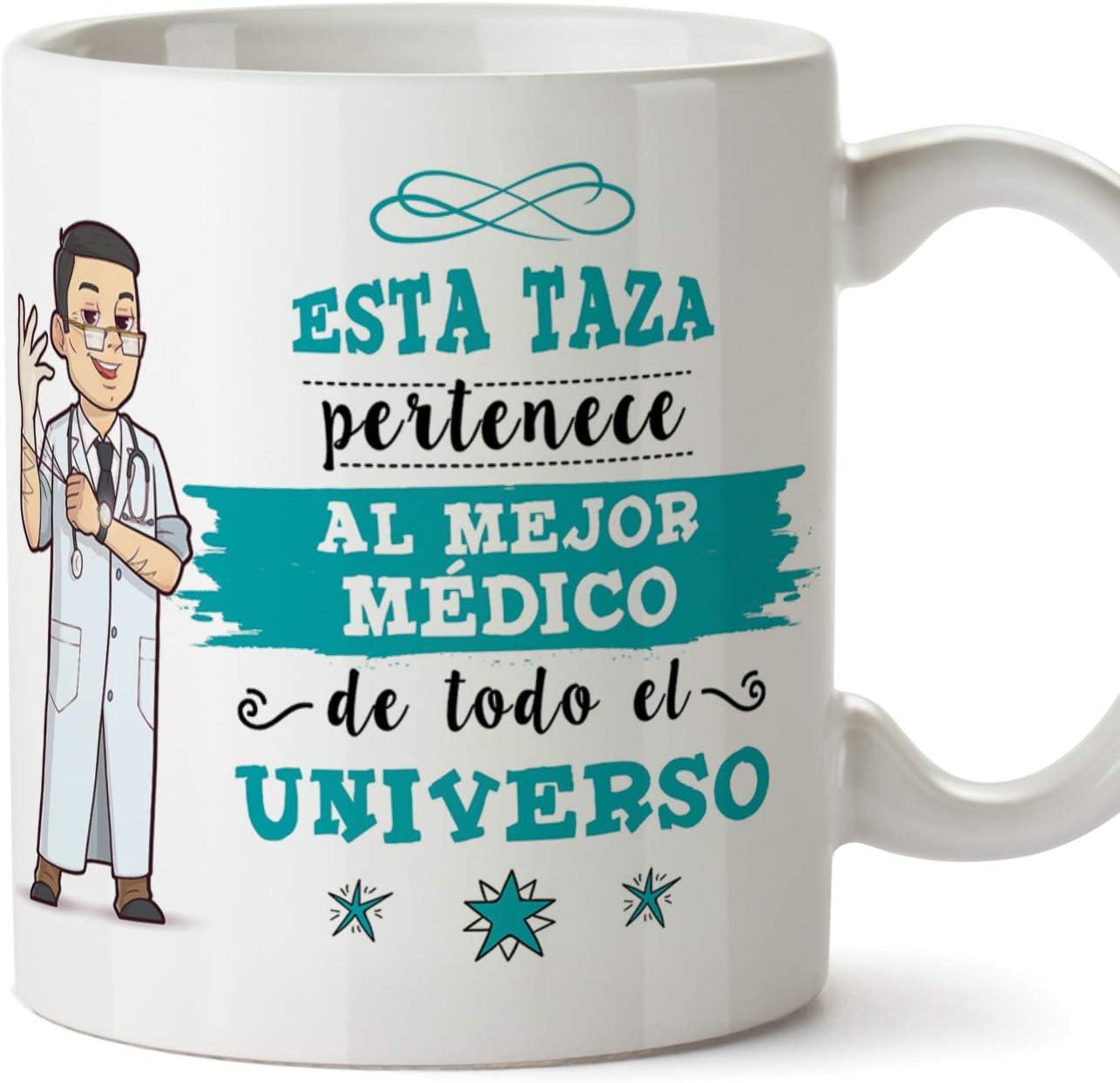 MUGFFINS Médico Tazas Originales de café y Desayuno para Regalar a Trabajadores Profesionales - Esta Taza Pertenece al Mejor Médico del Universo - Cerámica 350 ml