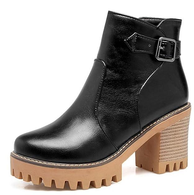 Aisun Damen Kunstleder Riemchen Schnalle Plateau Blockabsatz Martin Boots Kurzschaft Stiefel Weiß 42 EU ZON0Vc