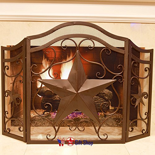 BestGiftEver Metal Heavy Star Fireplace Screen Rustic Home Decor by BestGiftEver