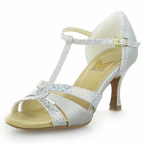 Jia Jia 20519 Damen Sandalen Ausgestelltes Heel Super-Satin Latein Tanzschuhe